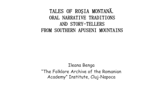 tales of roşia montană. oral narrative traditions and story