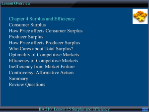 Lesson I-5: Surplus and Efficiency, Chapter 4