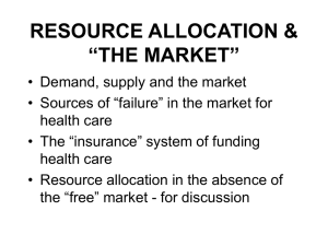 "Resource Allocation & ""The Market"""
