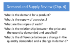 Demand and Supply Review (Chp. 4)