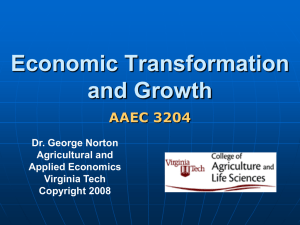 Objectives today - Economics of Agricultural Development