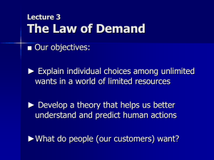 Lecture 2 The Law of Demand
