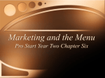 Marketing and the Menu Pro Start Year Two Chapter Six