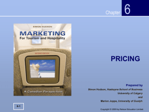 Pricing - Nelson Education - Marketing for Tourism and Hospitality