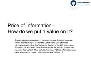 Price of Information - How do we put a value on it?