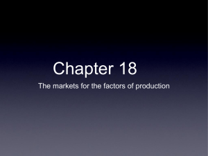 Chapter 18 The markets for the factors of production Factors of