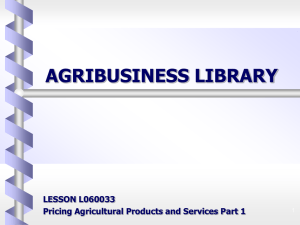 Pricing Agricultural Products and Services