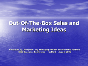 Out of the Box Sales and Marketing Ideas