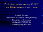 Prelecture quizzes using WebCT in a bioinstrumentation course