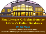 How to Find Literary Criticism in the Library Catalog and Online