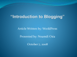 Introdution to Blogging
