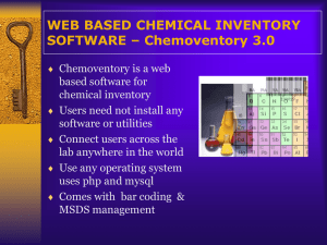 CHEMICAL INVENTORY - Web based software (chemoventory v3.0)