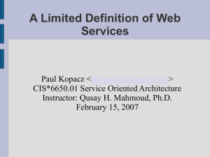 A Limited Definition of Web Services