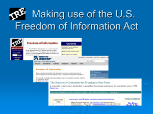 Making use of the U.S. Freedom of Information Act The Approach