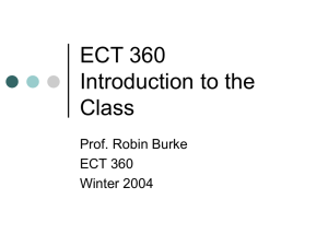 ECT 360 Introduction to the Class