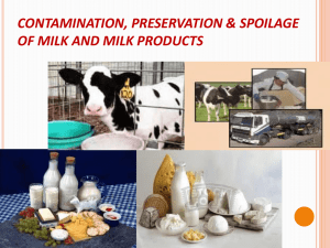 CONTAMINATION, PRESERVATION AND SPOILAGE OF MILK AND
