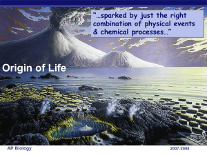 The origin of life - Hicksville Public Schools / Homepage