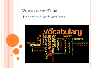 The Tiers of Vocabulary - Cattaraugus