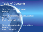 Table of Contents: - Mr. Tobin`s Earth Science Class