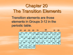 Chapter 20 The Transition Elements