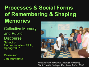 Processes & Social Forms of Remembering & Shaping Memories