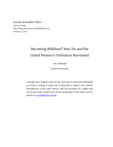 Becoming Bhikkhunī Global Women's Ordination Movement Journal of Buddhist Ethics
