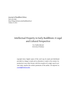 Intellectual Property in Early Buddhism: A Legal and Cultural Perspective
