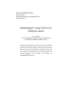 Mahāpajāpatī's Going Forth in the Madhyama-āgama Journal of Buddhist Ethics