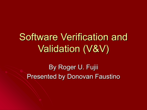 Software Verification and Validation (V&V)