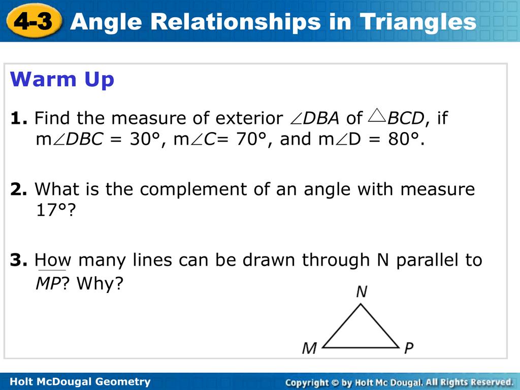Holt McDougal Geometry 4-3