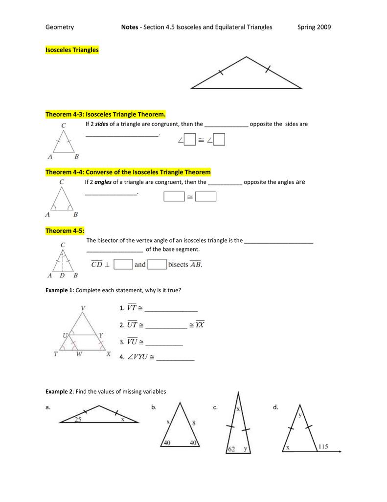 Notes . Isosceles Triangles