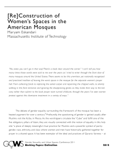 [Re]Construction of Women's Spaces in the American Mosques Mar yam Eskandari