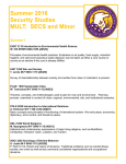 Summer 2016 Security Studies MULT:  SECS and Minor