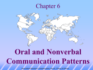 Chapter 4: Oral and Nonverbal Communication Patterns