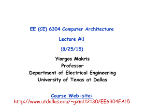 Lecture 1 - The University of Texas at Dallas
