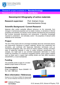 Nanoimprint lithography of active materials Nanotechnology Soft Matter Research supervisor