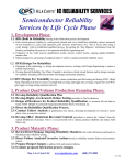 Semiconductor Reliability Services by Life Cycle Phase IC RELIABILITY SERVICES