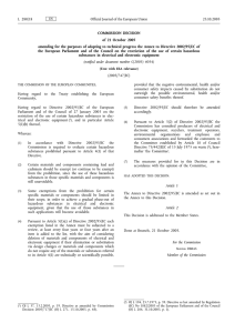 COMMISSION DECISION of 21 October 2005 L 280/18