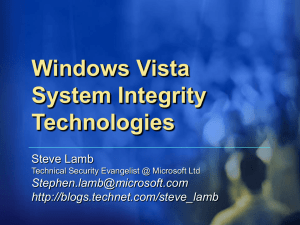 Windows Vista system integrity technologies