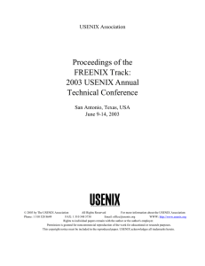 Proceedings of the FREENIX Track: 2003 USENIX Annual Technical Conference