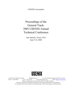 Proceedings of the General Track: 2003 USENIX Annual Technical Conference