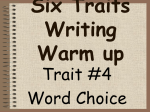 Six Traits Writing Warm up - Conroe Independent School