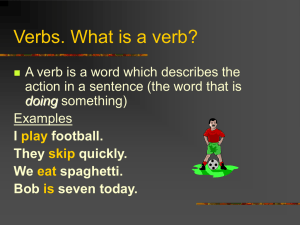 Verbs. What is a verb? - MVUSD Technology Curriculum Team