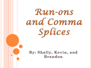 Run-ons and comma splices - Thomas Nelson Community College