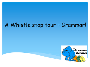 A Whistle stop tour – Grammar!