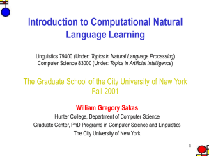 Introduction to Computational Natural Language
