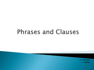 Phrases and Clauses - CCSS7thGradeEnglishMaterials