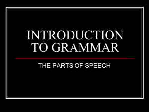 INTRODUCTION TO GRAMMAR