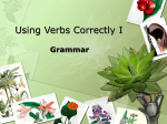 Using Verbs Correctly I