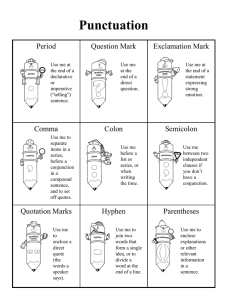 writing punctuation handout